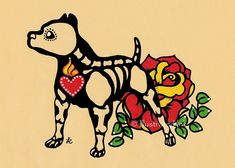 Day of the Dead Dog PITBULL Dia de los Muertos by illustratedink, $9.50