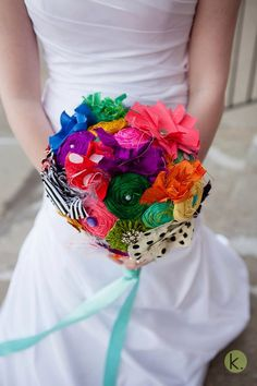 colorful retro wedding bouquet with vintage by cocorosecouture, $200.00