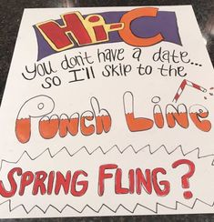 hi c drink punch food homecoming prom promposal ask sign idea dance Proposal Ideas football Homecoming Poster Ideas, Cute Homecoming Proposals, Homecoming Signs, Hoco Proposals, Formal Proposals, Homecoming Week, Homecoming Dresses, High School Dance, School Dances
