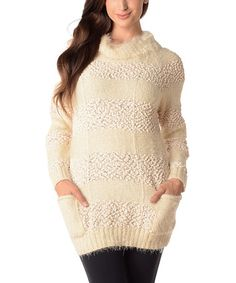 Loving this White Bouclé Stripe Fuzzy Cowl Neck Sweater - Plus on #zulily! #zulilyfinds