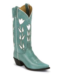 Look at this Justin Boots Vintage Turquoise Goat Cowboy Boot on #zulily today!