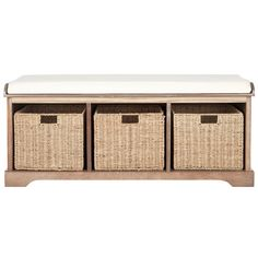 Add storage space and contemporary style to your mud room or entryway with the Safavieh Lonan Wicker Indoor Storage Bench . Indoor Storage Bench, White Storage Bench, Wooden Storage Bench, Storage Bench With Cushion, Cubby Storage, Upholstered Storage Bench, Storage Baskets, Bedroom Bench With Storage, Storage Ideas