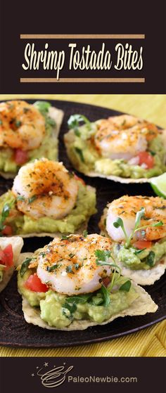Simple pan-fried shrimp with pre-made guac, salsa, and a bag of gluten-free chips & all you need for an easy and awesome appetizer! Gluten Free Appetizers, Shrimp Appetizers, Yummy Appetizers, Appetizers For Party, Appetizer Recipes, Seafood Recipes, Paleo Recipes, Mexican Food Recipes, Cooking Recipes