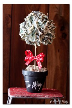 Money Topiary Gift Idea - Sugar Bee Crafts
