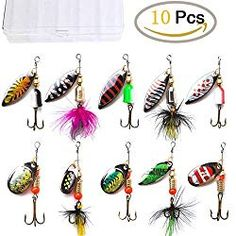 KINGFO Fishing Lures Spinnerbait for Bass Trout Salmon Walleye Hard Metal Spinner Baits Kit with 1 Tackle Box