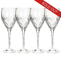453-186 - The Plaza Waterford Crystal Set of Four 6 oz Flutes or 14 oz Goblets