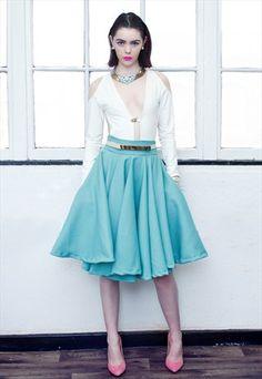$37.28 ELEVATE 50's vintage style skater midi skirt