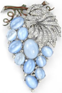 Trifari 'Alfred Philippe' Blue Moonstone Cabochon Grapes on Vine Pin Clip