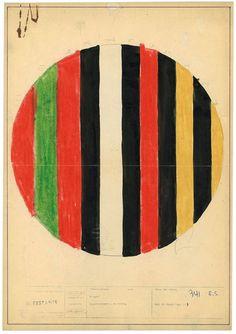 dessin, illustration : Ettore Sottsass, 1958, design italien, croquis, cercle, rayures, 1950s