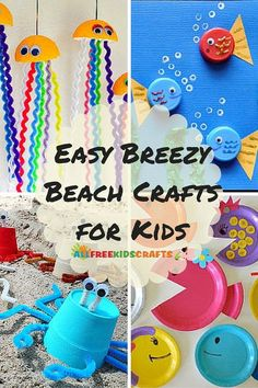 Easy Breezy Beach Crafts for Kids. From starfish and sharks to seashells and sandcastles, kids will have a blast creating these DIY beach crafts for summer.