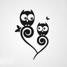 Sweet owls sitting in the ornate branch. Design for mother and daughter or couple tattoos.