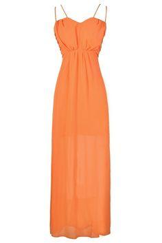 Greta Chiffon Dual Strap Maxi Dress in Orange