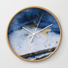 Abstract art with golden nugget and blue acrylic paint. Ready to hang wall clock with timber frame, by Golden Nugget, Mixed Media Artwork, Abstract Art, Clock, Frame, Wall, Blue, Painting, Watch