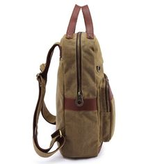 EcoCity Retro Canvas Genuine Leather Laptop Rucksack Backpack (Green)  - Click image twice for more info - See a larger selection of Girls teen  backpacks at http://kidsbackpackstore.com/product-category/girls-teen-backpacks/- kids, juniors, back to school, kids fashion ideas, teens fashion ideas,  school supplies, backpack, bag , teenagers,  boys, gift ideas
