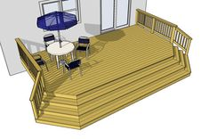 I love that this deck has wide stairs, lots of space and railings. It would be great if there were bench seating though. Clean and simple!