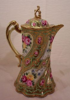 Vintage Nippon Chocolate Pot Decorated with Hand Painted Roses from on Ruby Lane: Antique Dishes, Antique China, Vintage China, Vintage Tea, Painted Roses, Hand Painted, Teapots And Cups, Teacups, Chocolate Pots