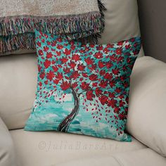 Cherry Tree Pillow, Art Throw Pillow, Red, Turquoise, Teal. Custom made using eco-friendly dye sublimation process.  ▲ Pillow covers are available in the following fabric options:  ● TEXTURED TWILL: - Nice to touch, soft but solid fabric.  - Individually printed, cut and sewn by hand. - Design printed on both sides. - Has a zipper. - Pillow insert is NOT included and can be ordered separately (see below).  ● MICRO-VELVETEEN:  - High quality plush and soft micro-velveteen fabric…