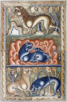 Medieval Bestiary : Bodleian Library, MS. Ashmole 1511, Folio 10v Three attributes of the lion: the lion likes to be on high hills; the lion has one less cub each year; the lion licks (or breathes) life into his cubs.