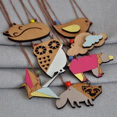 Beautiful, contemporary origami style wooden necklace hanging on an antiqued copper chain. Origami Necklace, Origami Jewelry, Vintage Style, Vintage Fashion, Wooden Necklace, Antique Copper, Czech Glass Beads, Lobster Clasp, Pastel Colors