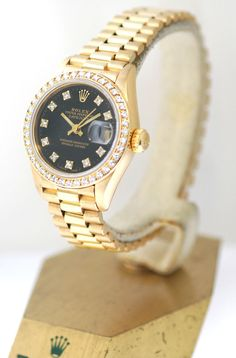 Rolex Ladies Gold President Watch In 18k, With Black Color Diamond Dial/Bezel #Rolex #Datejust