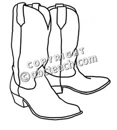 Free Cowboy boot outline | Clip Art: Western Theme: Cowboy Boots B - preview 1