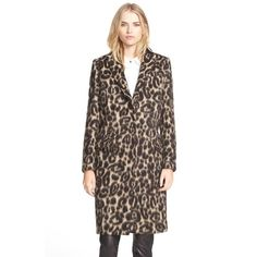 Burberry London 'Croasdale' Leopard Print Wool & Alpaca Reefer Coat ($2,995) ❤ liked on Polyvore featuring outerwear, coats, camel, slim fit coat, long brown coat, brown wool coat, leopard print coat and camel wool coat