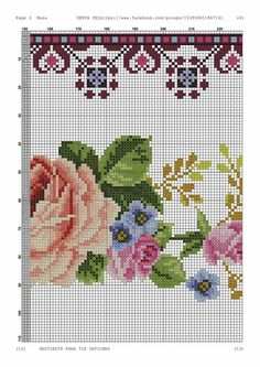 Greeks, Cross Stitch Flowers, Cross Stitch Embroidery, Needlework, Floral, Cross Stitch Rose, Pink Tablecloth, Towels, Tricot