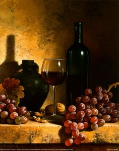Wine Bottle, Grapes and Walnuts ~ Fine-Art Print - Tuscan Kitchen Art Prints and Posters - Kitchens Pictures Mets Vins, Wine Decor, Wine Art, Vintage Wine, Gifts For Wine Lovers, Tuscan Decorating, Italian Wine, Italian Style, In Vino Veritas