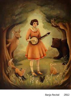 Banjo Recital by theblackapple (Emily Winfield-Martin). This is my favorite black apple prints. Art And Illustration, Illustrations, Amazing Paintings, Amazing Art, Original Paintings, Black Apple, Recital, Les Oeuvres, Framed Art Prints