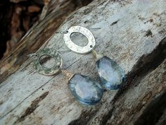 Paraiba quartz wire wrapped with sterling silver and large, silver plated pewter oval links, for great pair of earrings!