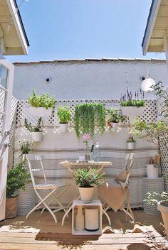 Pared con reja atras para decorar con plantas