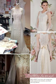 """""""DELANEY"""" wedding dress by Claire Pettibone. Ivory linen with vintage lace insets, guipure lace neckline, and sheer tulle long sleeves"""