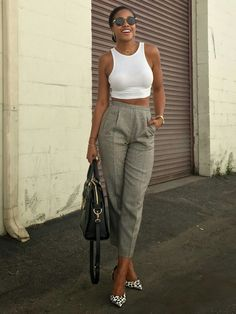 White Midriff and Vintage High Waisted Trousers  H&M MIDRIFF TOP // VINTAGE HIGH WAIST PANTS // GUESS HEELS // ZEROUV SUNGLASSES Honey in My Heels
