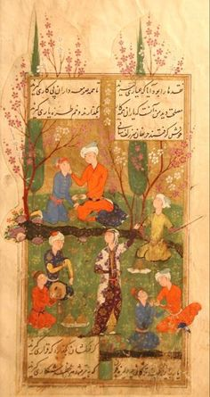 Hafiz / Persian Poet; Safavid Persia, late 16th c, early 17 c.? Woman in the lower center is dancing.