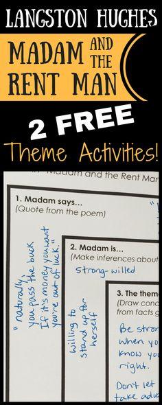 """FREE poem activities for """"Madam and the Rent Man"""" by Lanngston Hughes! Teach students how to use character traits, setting, conflict, and more for determining theme in poetry. These user-friendly graphic organizers make poetry analysis easy!"""