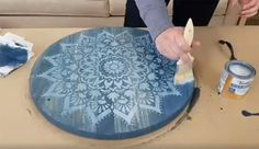 Learn how to craft a DIY wooden tray using the Radiance Mandala Stencil from Cutting Edge Stencils. http://www.cuttingedgestencils.com/radiance-mandala-stencil-yoga-mandala-stencils-decal.html
