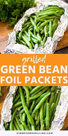 These Grilled Green Beans Foil Packets are the perfect quick and easy side dish on your grill! Grab your fresh green beans, season them, wrap them in foil and you will have a delicious, healthy grilling recipe everyone will love! Foil Packet Dinners, Foil Pack Meals, Foil Dinners, Healthy Grilling Recipes, Veggie Recipes, Cooking Recipes, Recipes Dinner, Grilling Ideas, Easy Grill Recipes