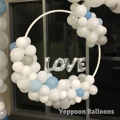 """Hanging hoop with organic style balloons and foil """"LOVE"""" letters. Wedding decor CQ Wedding Yeppoon Balloons"""