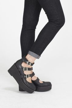 Buckle Strap Wedge Black Shoes #black #shoes #style
