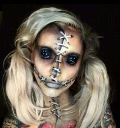 Looking for for ideas for your Halloween make-up? Browse around this site for unique Halloween makeup looks. Maquillage Halloween Zombie, Halloween Zombie Makeup, Halloween Looks, Creepy Doll Halloween Costume, Scarecrow Makeup, Doll Make Up Halloween, Awesome Halloween Makeup, Diy Voodoo Doll Costume, Scarecrow Face Paint