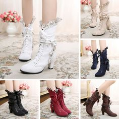 """Material:Inside: Made of artificial short plushSurface: Made of fluffInsole: Made of artificial short plushColors: White/Black/Wine/Brown/Deep Blue/Beige Size reference:Heel height: 5cm-8cm/1.97""""-3.15""""Please read below before place an order, thank you:)- Please inform us your regular shoes size like this: Regular wear US 9, foot length 25cmSize are standard size, please refer to below size chart and choose the size you usually wear.If your feet are wide, suggest to choose one size up:)- Kindly n Shoe Size Conversion, Shoe Size Chart, Mode Outfits, Short Boots, Lolita Fashion, Fashion Branding, Fashion Shoes, Kawaii, Stylish"""