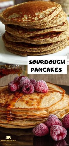 Looking for a perfect breakfast meal? How about these delicious homemade sourdough pancakes topped up with your favorite syrup and fruits. Sourdough Pancakes, Sourdough Recipes, Sourdough Bread, Other Recipes, Whole Food Recipes, Drink Recipes, Pancake Toppings, Easy Snacks, Healthy Snacks
