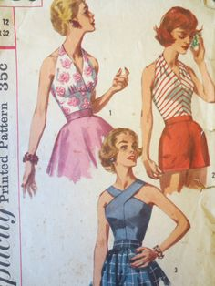 Vintage Simplicity 2086 Sewing Pattern, Bombshell, Pin Up, 1950s Halter Pattern, Bust 32, Surplice Neckline, Vintage Sewing Supply, Fifties