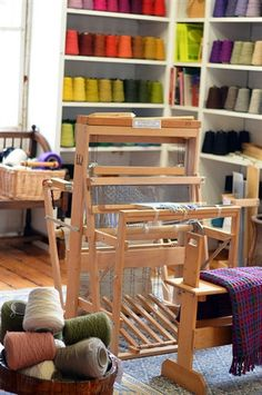 Harrisville looms are compact and perfect for weaving workshops. They can fold with the warp attached Loom Weaving, Hand Weaving, Outdoor Chairs, Outdoor Furniture, Outdoor Decor, Weaving Textiles, Floor Space, Wishbone Chair, Small Apartments