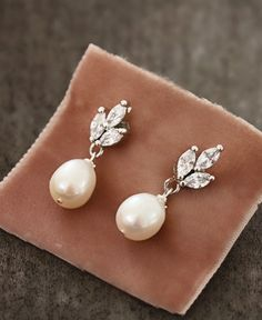 Delicate Rhinestone and Freshwater Pearl Post Drop Earrings