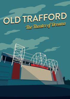 Old Trafford Manchester United Stadium Print Manchester United Stadium, Manchester United Poster, Manchester United Old Trafford, Manchester United Legends, Ronaldo Celebration, Soccer Images, Man Utd Fc, Soccer Art, The Unit