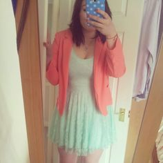 Outfit sorted for wedding reception - mint skater dress from boohoo and coral blazer from george at asda!