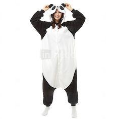 b9950298a3 Adulto Pijamas Kigurumi Oso Panda Animal Pijamas de una pieza Lana Polar  Negro   Blanco Cosplay por Hombre y mujer Ropa de Noche de los Animales  Dibujos ...