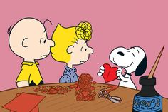 Description: Charlie Brown and friends are making Valentines in this canvas art. A perfect wall hanging for the Valentine's Day holiday, this also works well in a child's room, everyday. - Peanuts wal