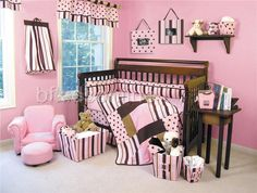 Pink and brown crib bedding spectacular baby nursery bedding sets. Bed Sets, Crib Sets, Crib Bedding Sets, Brown Nursery, Brown Crib, Baby Nursery Bedding, Nursery Room, Nursery Ideas, Bedroom Ideas